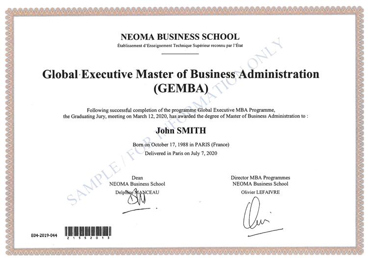 法国诺欧商学院全球EMBA毕业证书